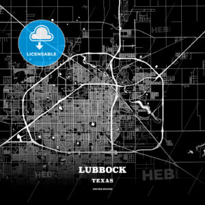 Black map poster template of Lubbock, Texas - HEBSTREITS