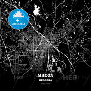 Black map poster template of Macon, Georgia - HEBSTREITS
