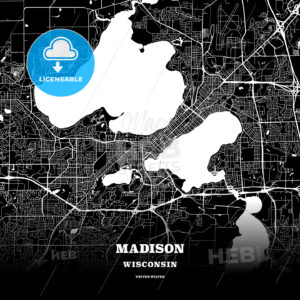 Black map poster template of Madison, Wisconsin - HEBSTREITS