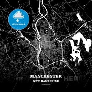 Black map poster template of Manchester, New Hampshire, USA - HEBSTREITS