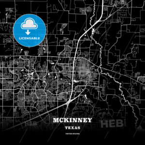 Black map poster template of McKinney, Texas - HEBSTREITS