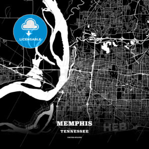 Black map poster template of Memphis, Tennessee - HEBSTREITS