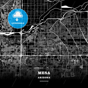 Black map poster template of Mesa, Arizona - HEBSTREITS