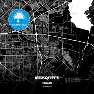 Black map poster template of Mesquite, Texas, USA - HEBSTREITS