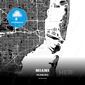 Black map poster template of Miami, Florida - HEBSTREITS
