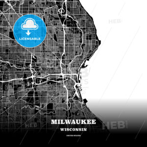 Black map poster template of Milwaukee, Wisconsin - HEBSTREITS