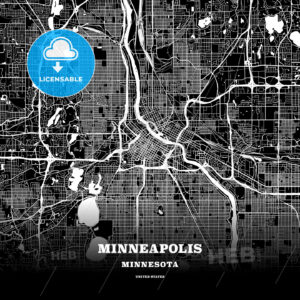 Black map poster template of Minneapolis, Minnesota - HEBSTREITS