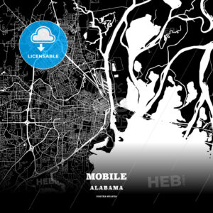 Black map poster template of Mobile, Alabama - HEBSTREITS