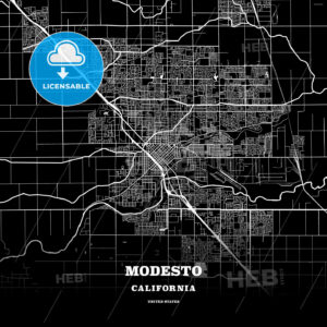 Black map poster template of Modesto, California - HEBSTREITS