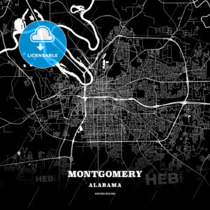 Black map poster template of Montgomery, Alabama - HEBSTREITS