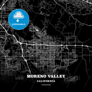 Black map poster template of Moreno Valley, California - HEBSTREITS