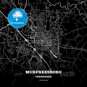Black map poster template of Murfreesboro, Tennessee - HEBSTREITS