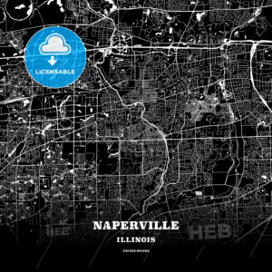 Black map poster template of Naperville, Illinois - HEBSTREITS