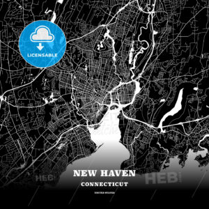 Black map poster template of New Haven, Connecticut - HEBSTREITS