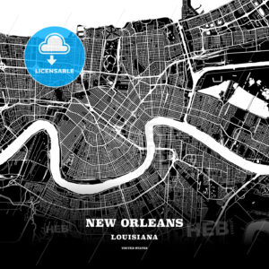 Black map poster template of New Orleans, Louisiana - HEBSTREITS