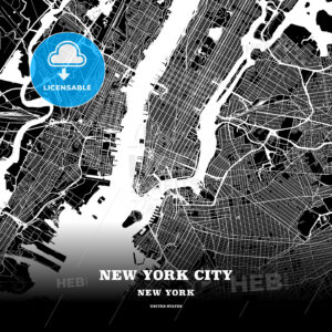 Black map poster template of New York City, New York - HEBSTREITS