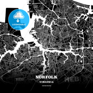 Black map poster template of Norfolk, Virginia - HEBSTREITS