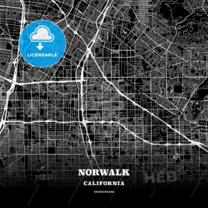 Black map poster template of Norwalk, California - HEBSTREITS