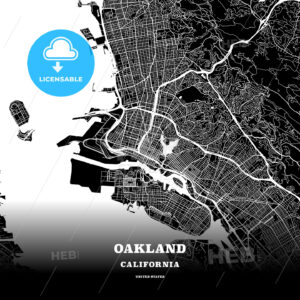 Black map poster template of Oakland, California - HEBSTREITS