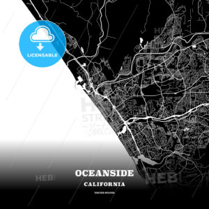 Black map poster template of Oceanside, California - HEBSTREITS