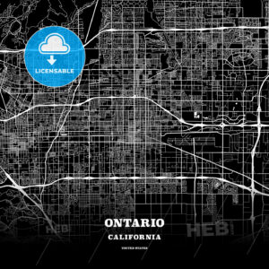 Black map poster template of Ontario, California - HEBSTREITS