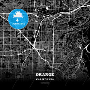 Black map poster template of Orange, California, USA - HEBSTREITS