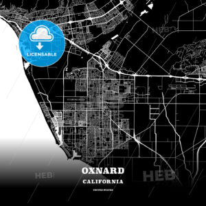 Black map poster template of Oxnard, California - HEBSTREITS