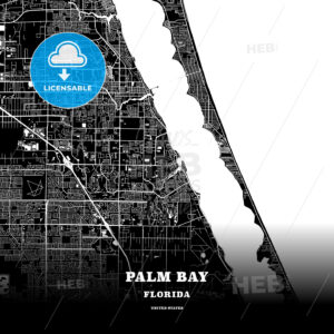 Black map poster template of Palm Bay, Florida, USA - HEBSTREITS