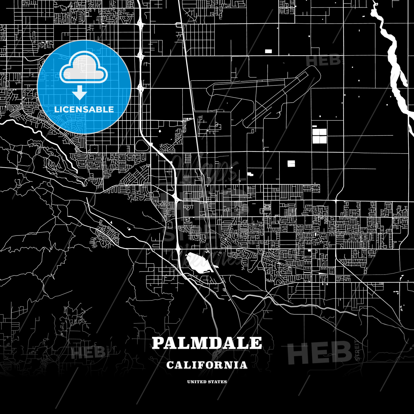 Black map poster template of Palmdale, California, USA