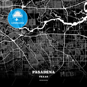 Black map poster template of Pasadena, Texas - HEBSTREITS