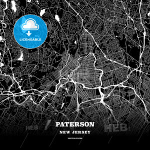 Black map poster template of Paterson, New Jersey - HEBSTREITS