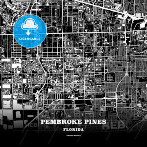 Black map poster template of Pembroke Pines, Florida - HEBSTREITS