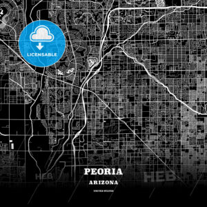 Black map poster template of Peoria, Arizona - HEBSTREITS