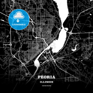 Black map poster template of Peoria, Illinois, USA - HEBSTREITS