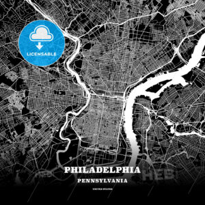 Black map poster template of Philadelphia, Pennsylvania - HEBSTREITS