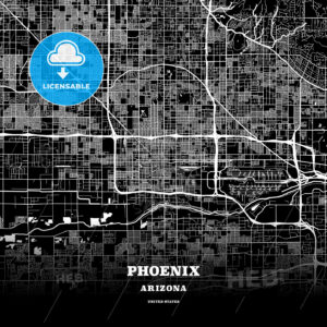 Black map poster template of Phoenix, Arizona - HEBSTREITS