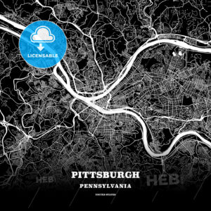 Black map poster template of Pittsburgh, Pennsylvania - HEBSTREITS