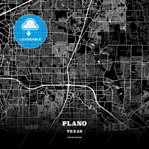 Black map poster template of Plano, Texas - HEBSTREITS