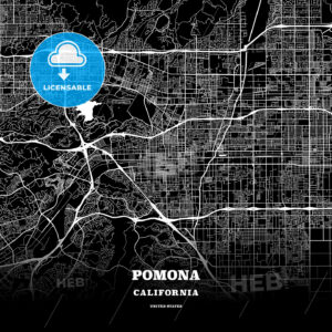 Black map poster template of Pomona, California - HEBSTREITS