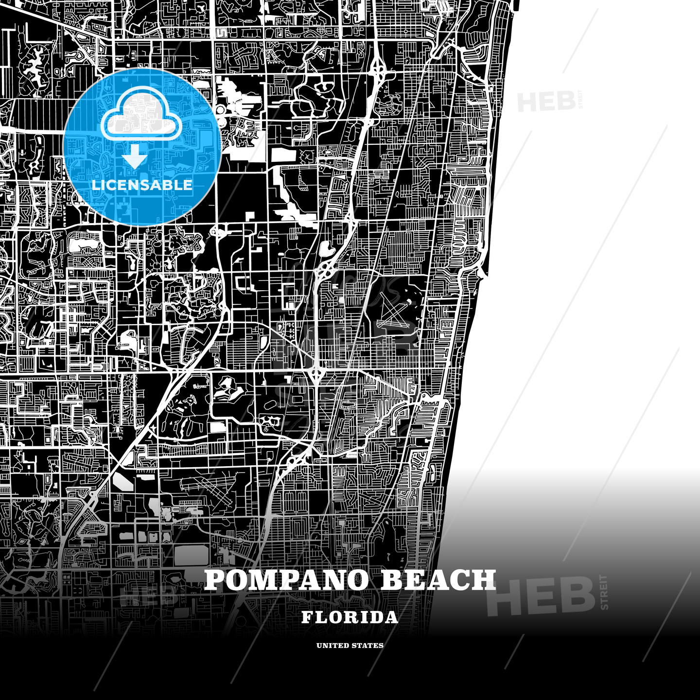 Map Of Pompano Beach Florida.Black Map Poster Template Of Pompano Beach Florida Usa Hebstreits