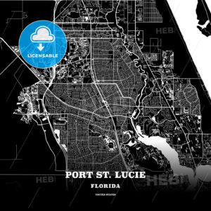 Black map poster template of Port St. Lucie, Florida - HEBSTREITS