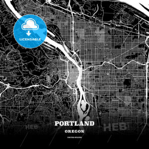 Black map poster template of Portland, Oregon - HEBSTREITS