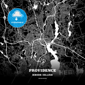 Black map poster template of Providence, Rhode Island - HEBSTREITS