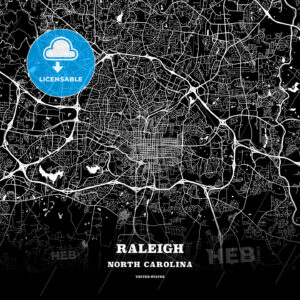 Black map poster template of Raleigh, North Carolina - HEBSTREITS