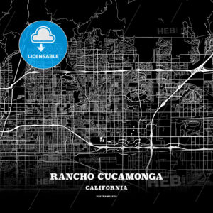 Black map poster template of Rancho Cucamonga, California - HEBSTREITS