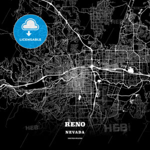 Black map poster template of Reno, Nevada - HEBSTREITS
