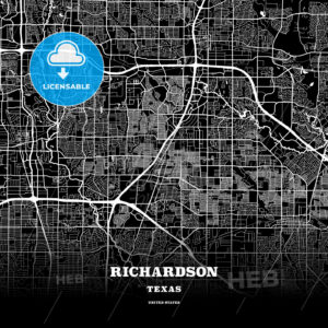 Black map poster template of Richardson, Texas, USA - HEBSTREITS