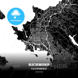 Black map poster template of Richmond, California, USA - HEBSTREITS