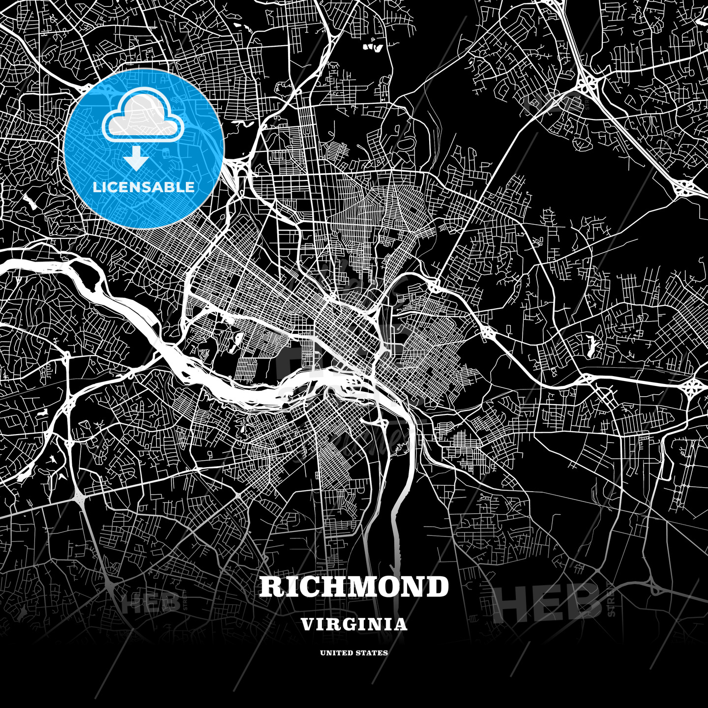 Black map poster template of Richmond, Virginia, USA on black and white map of asia, latitude and longitude of usa, black and white portraits of women,