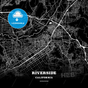 Black map poster template of Riverside, California - HEBSTREITS